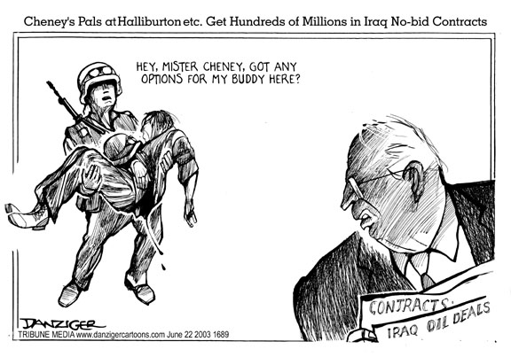 Dick Cheney, Halliburton, and Iraq war, cartoon